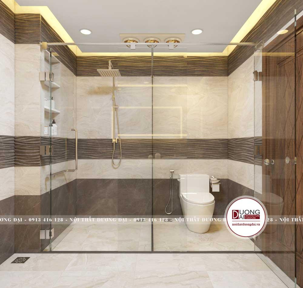 Phòng tắm master với nhà tắm kính lớn