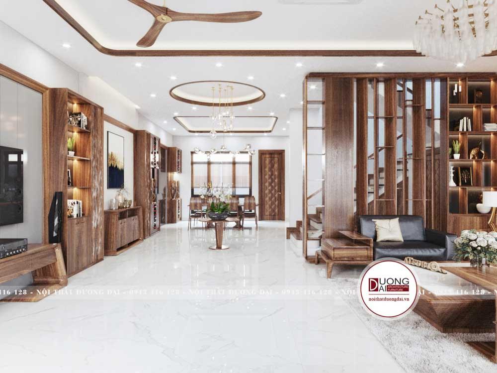 Phòng khách có vách ngăn gỗ dùng để bày đồ trang trí
