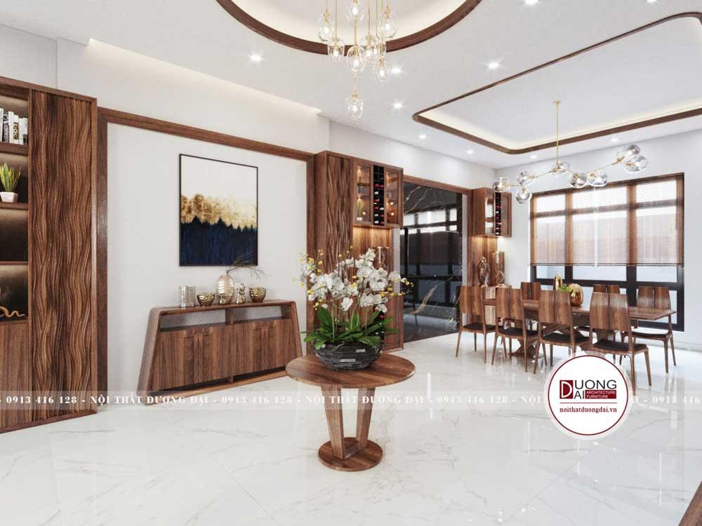 Kệ trang trí nhỏ tạo nét đẹp sang trọng cho phòng khách