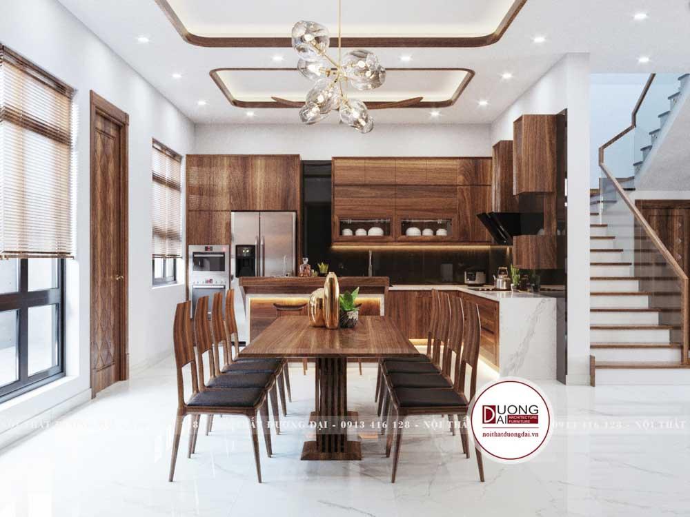 Tủ bếp gỗ óc chó chữ L đầy hiện đại và tiện nghi cho biệt thự
