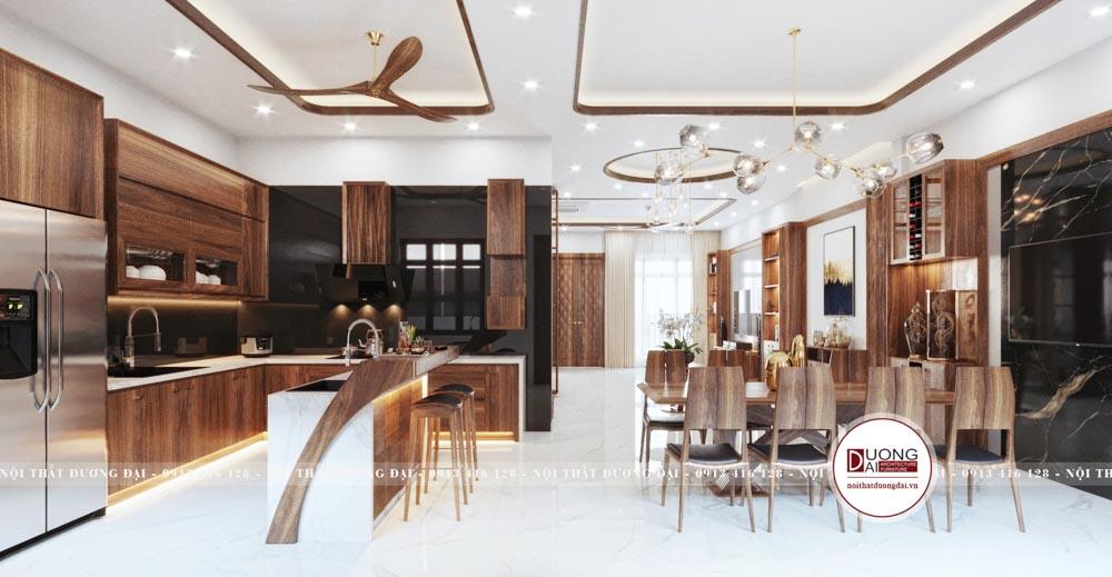Phòng bếp có quầy bar hiện đại và thượng lưu