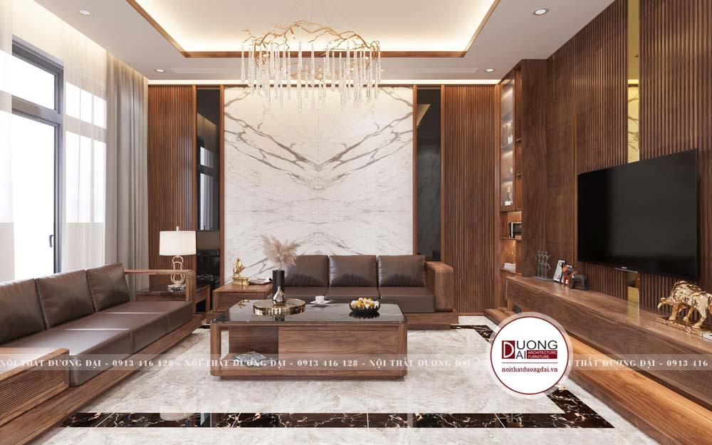 Thiết kế sofa gỗ óc chó hiện đại và đẳng cấp