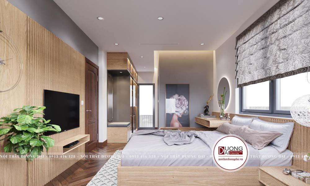 Thiết kế phòng ngủ sử dụng gỗ sồi Mỹ