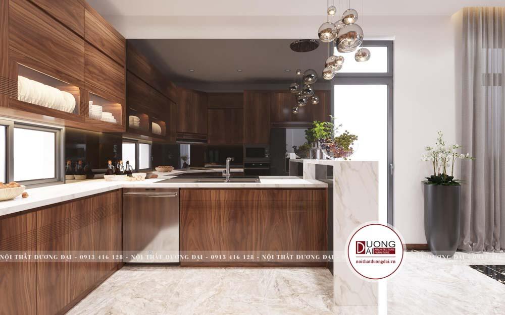 Thiết kế tủ bếp hiện đại chuẩn phong thủy với chất liệu gỗ tự nhiên