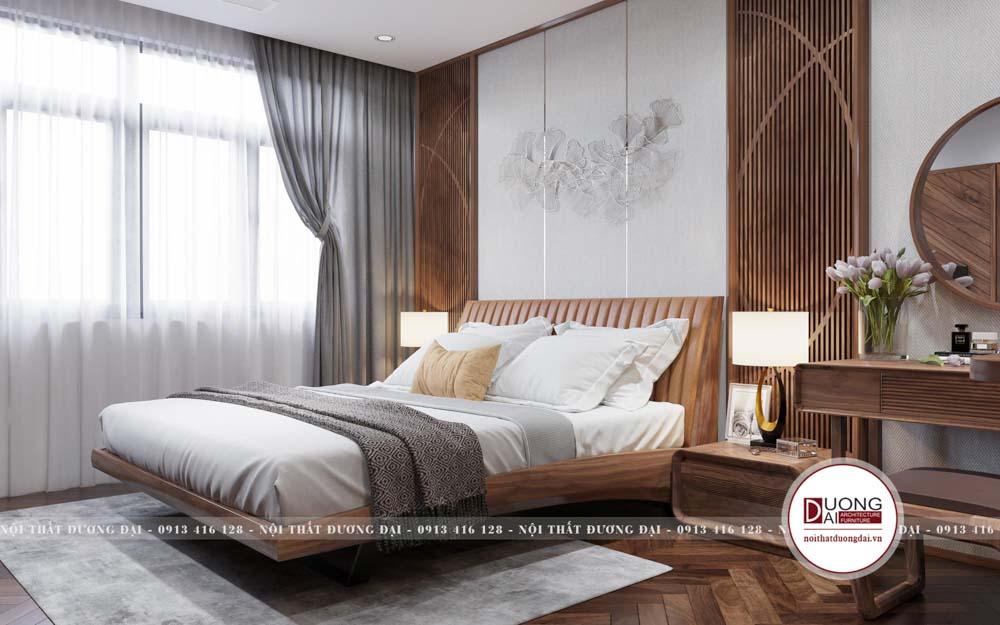 Giường ngủ gỗ óc chó thiết kế cong độc đáo