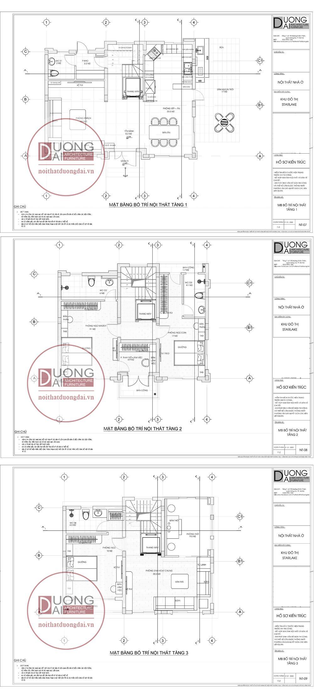 Mặt bằng công năng thiết kế nội thất biệt thự nhà chị Hương