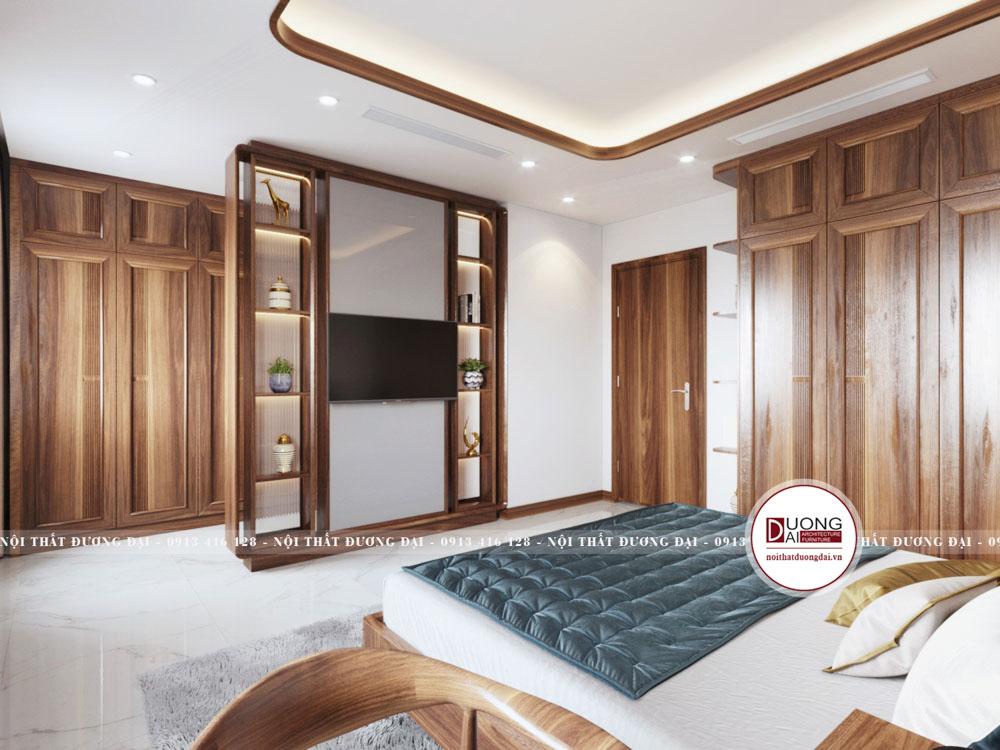 Mẫu vách ngăn kết hợp kệ tivi cho phòng ngủ Master sang trọng