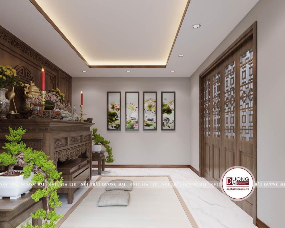 Thiết kế nội thất biệt thự Vincom Plaza Sơn La gỗ óc chó