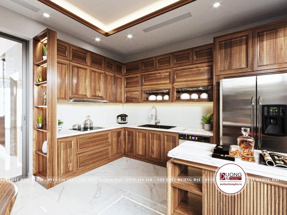 Tủ bếp mang màu nâu trầm quyến rũ và xa hoa từ gỗ óc chó
