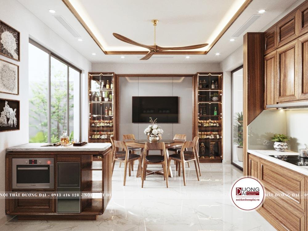 Thiết kế bàn ăn tròn siêu trang nhã cùng tủ rượu lớn cho phòng ăn