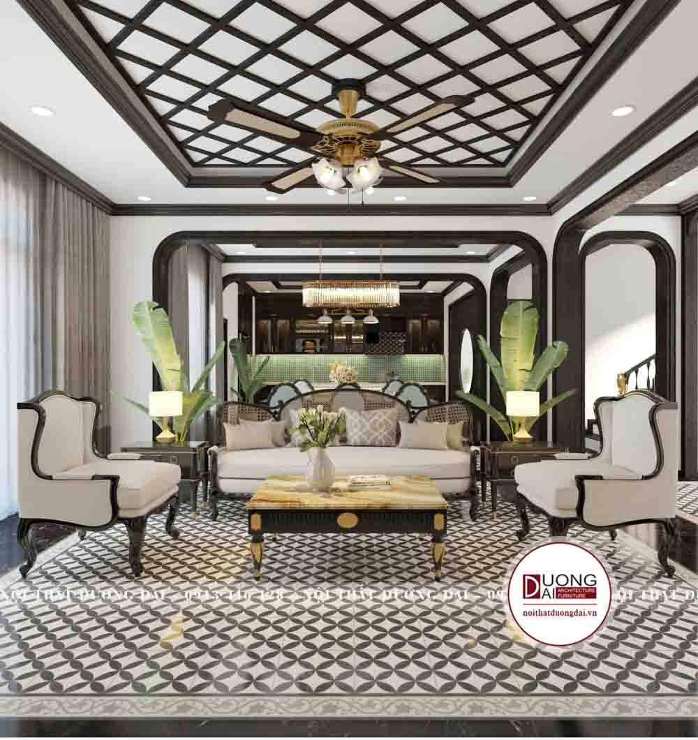 Phòng khách đầy sang trọng với bộ sofa màu be