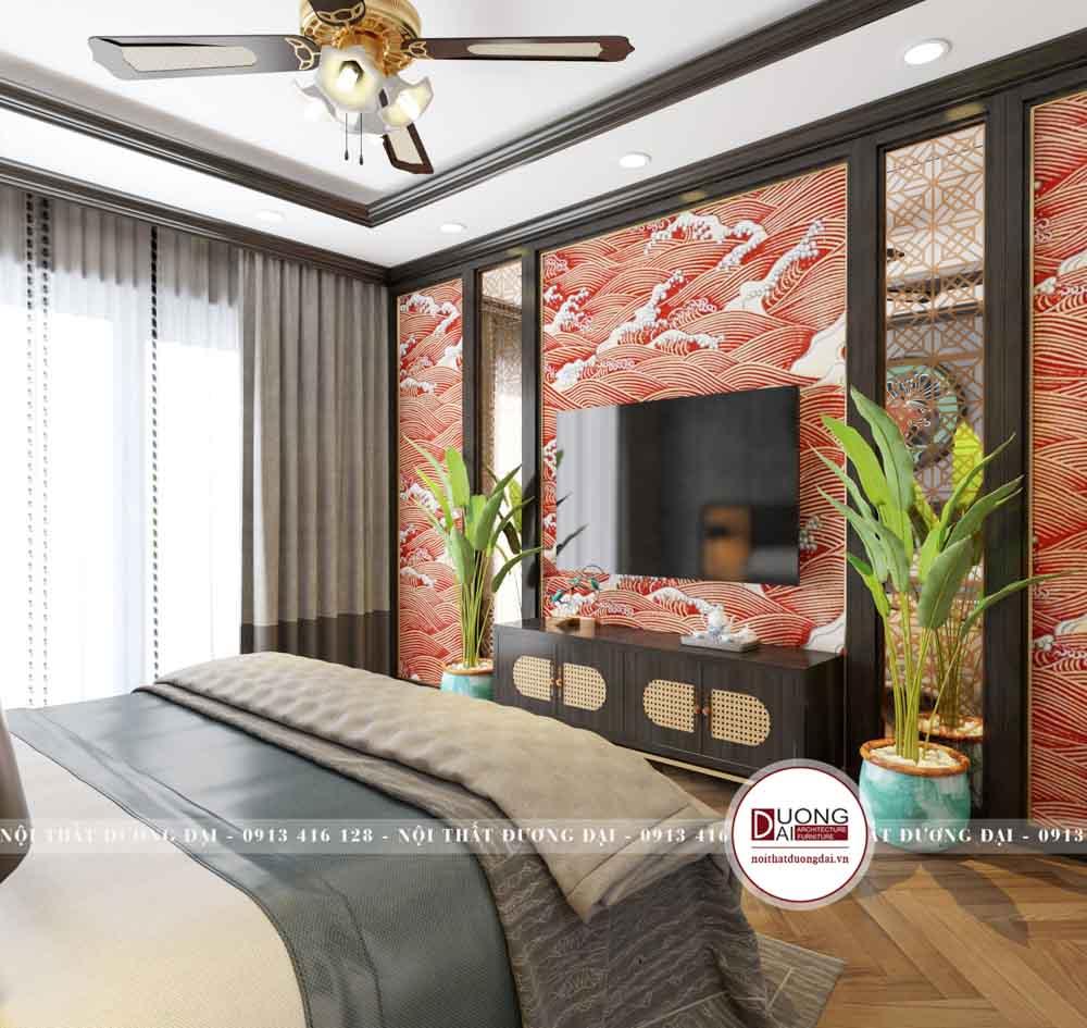 Thiết kế tường được vẽ hình sóng biển rực rỡ đậm nét văn hóa Trung Hoa