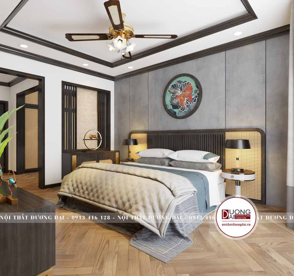 Phòng ngủ Master ấn tượng với chất liệu mây đan