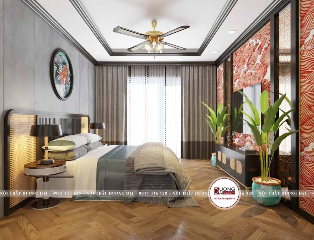 Bức tường đầu giường sơn màu ghi trầm ấm