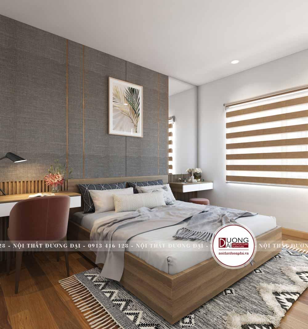 Phòng ngủ sử dụng nội thất gỗ công nghiệp màu vân gỗ sồi