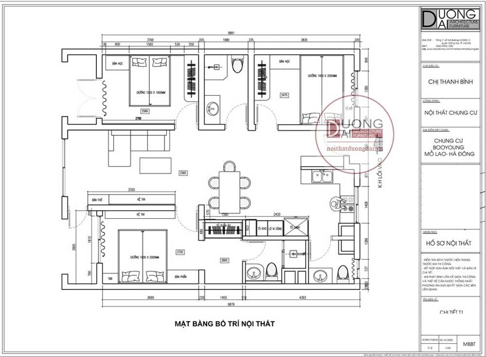 Mặt bằng công năng trong thiết kế nội thất căn hộ 95m2