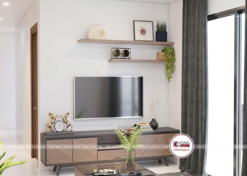 Thiết kế kệ tivi nhỏ gọn đầy cá tính cho phòng khách