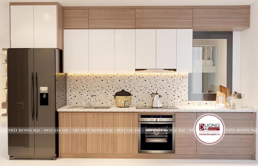 Phòng bếp màu trắng - nâu gỗ phương án 1
