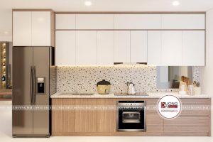 Mẫu tủ bếp đầy tiện nghi trong phương án 3
