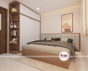 Thiết kế phòng ngủ Master hiện đại với gam màu ấm áp