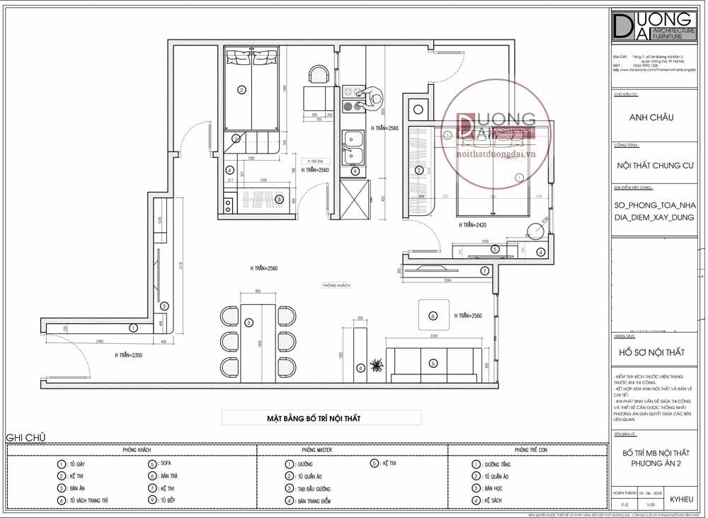 Mặt bằng công năng thiết kế nội thất chung cư Intracom Riverside