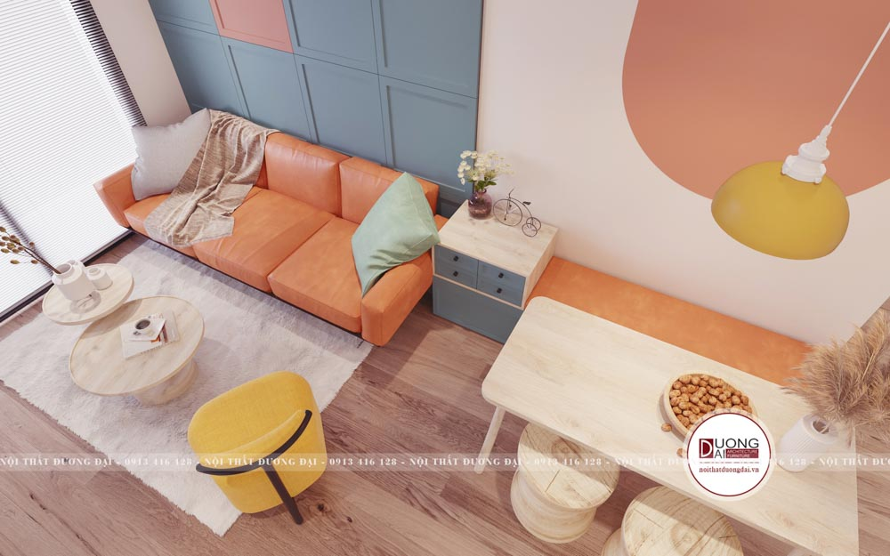 Thiết kế phòng khách đầy ấn tượng với gam màu xanh pastel - hồng cam