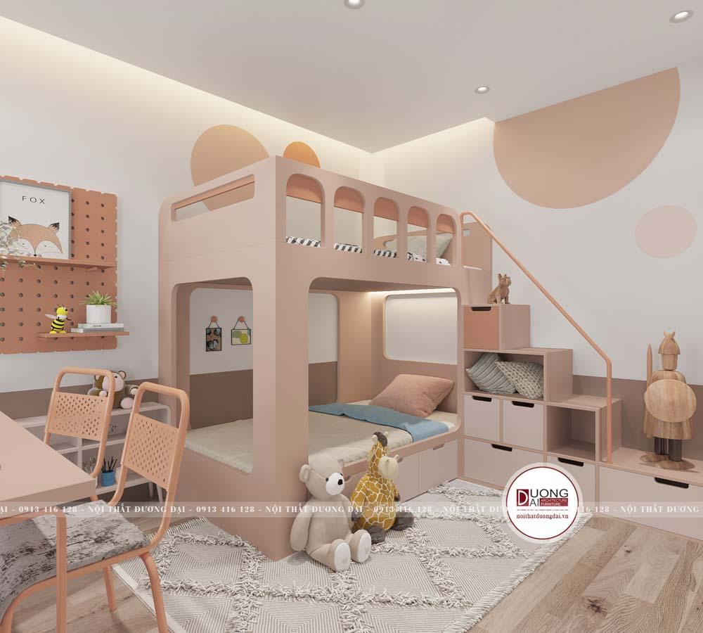 Giường tầng có ngăn đựng đồ lớn và kệ trang trí cho bé