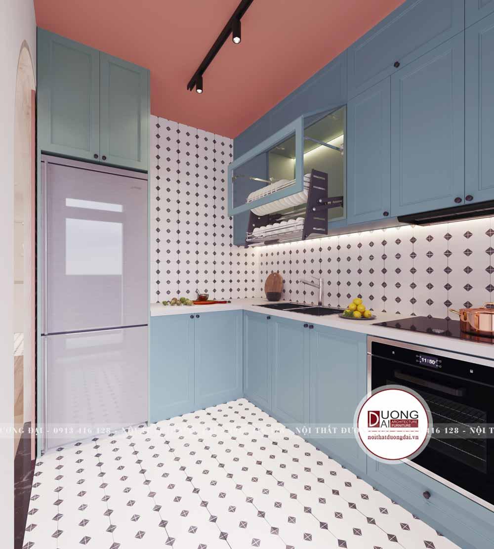 Màu sắc tươi sáng và tương phản sẽ giúp phòng bếp thêm nổi bật