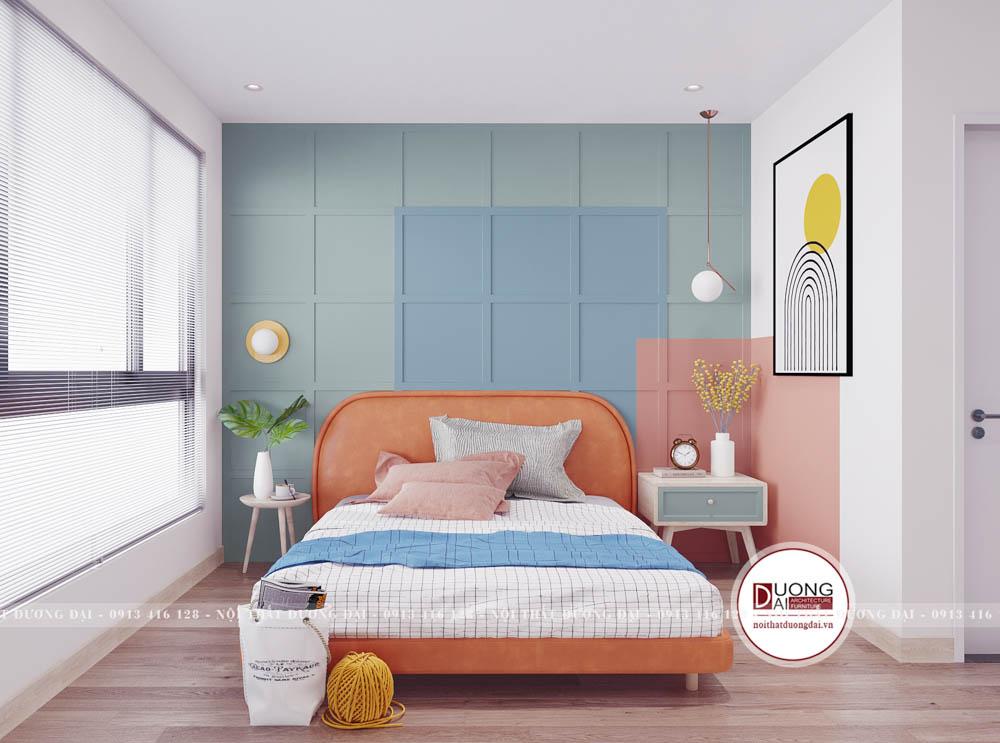 Phòng ngủ Master ấn tượng với gam màu xanh pastel và màu hồng cam