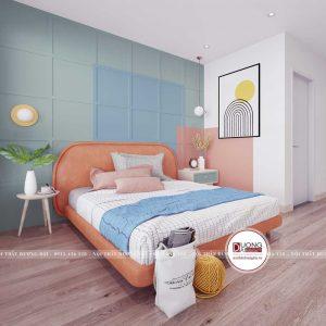 Giường ngủ bọc da màu cam đầy phá cách