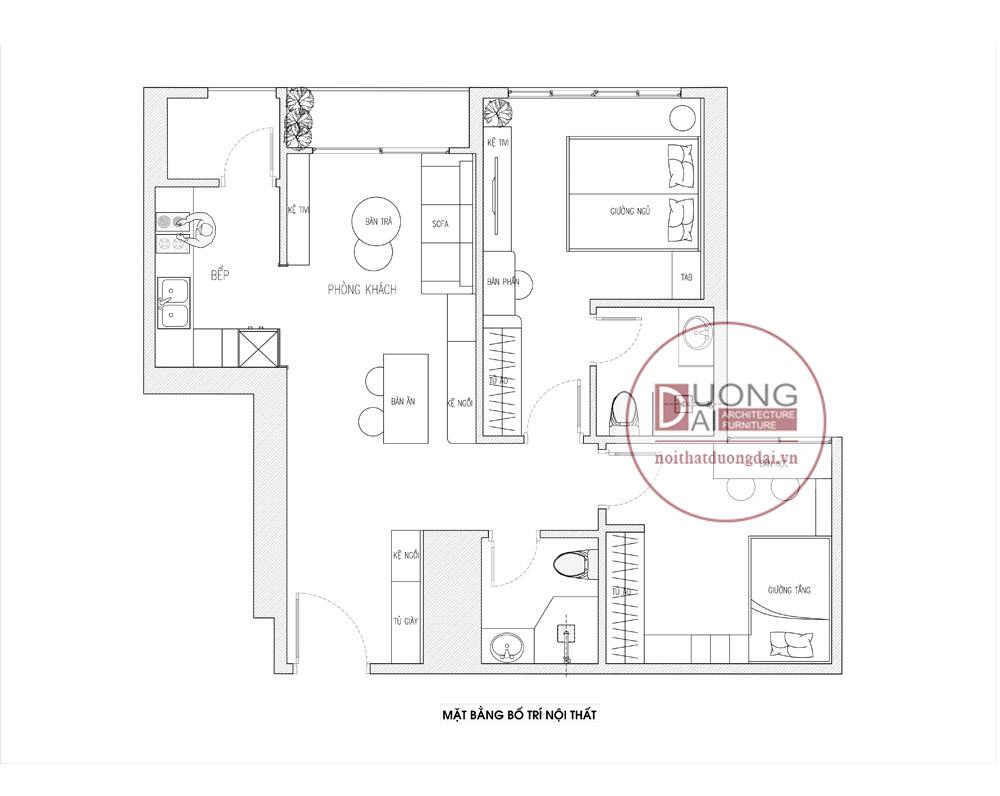 Mặt bằng thiết kế nội thất chung cư Vinhome Green Bay