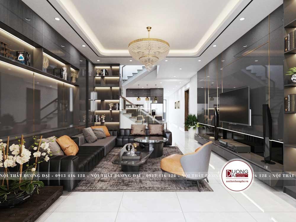 Thiết kế phòng khách nhà ống mặt tiền 5m siêu hiện đại