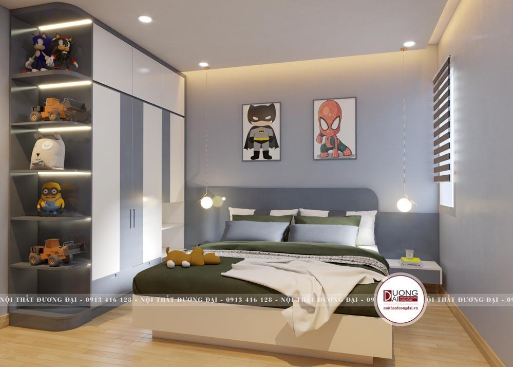 Phòng ngủ cho bé trai với gam màu xanh dương