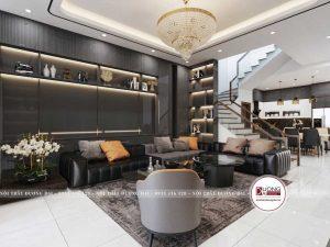 Sofa làm từ da Boss cao cấp với màu đen quyến rũ