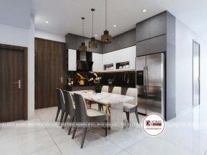 Phòng bếp đầy cá tính với gam màu trắng - ghi trầm tương phản