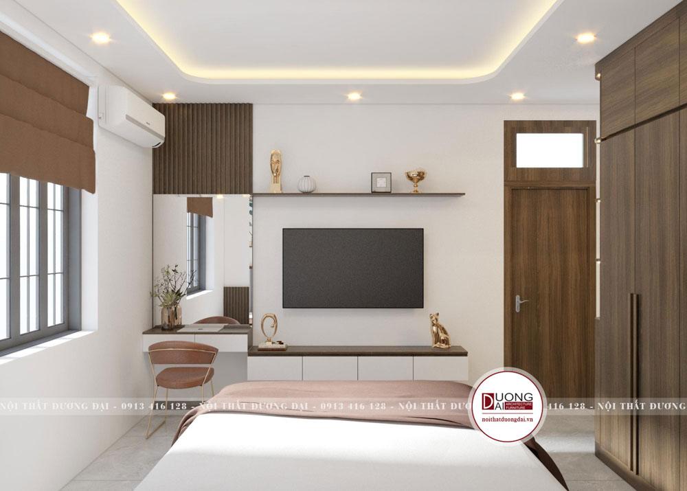 Phòng ngủ có bàn phấn và kệ tivi màu trắng trang nhã