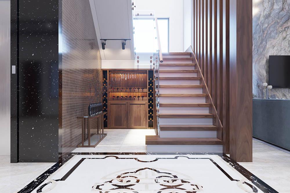 Mẫu thiết kế đơn giản từ những thanh gỗ lớn đặt song song