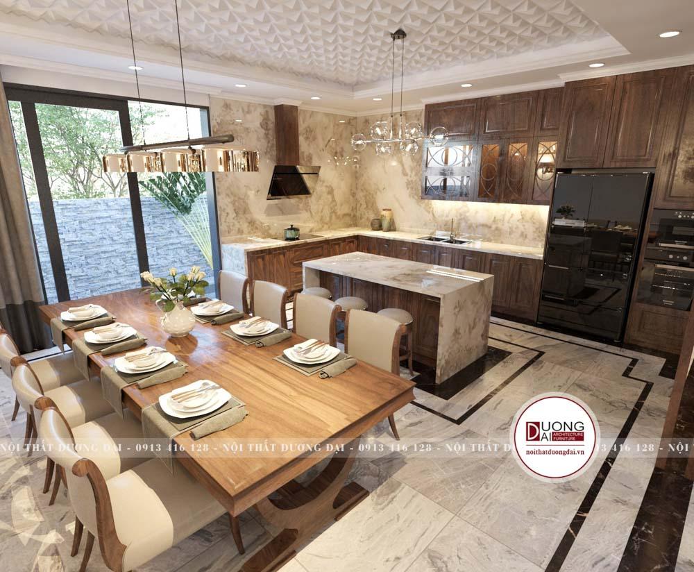 Tủ bếp gỗ óc chó cùng đảo bếp tôn lên sự tiện nghi và đẳng cấp