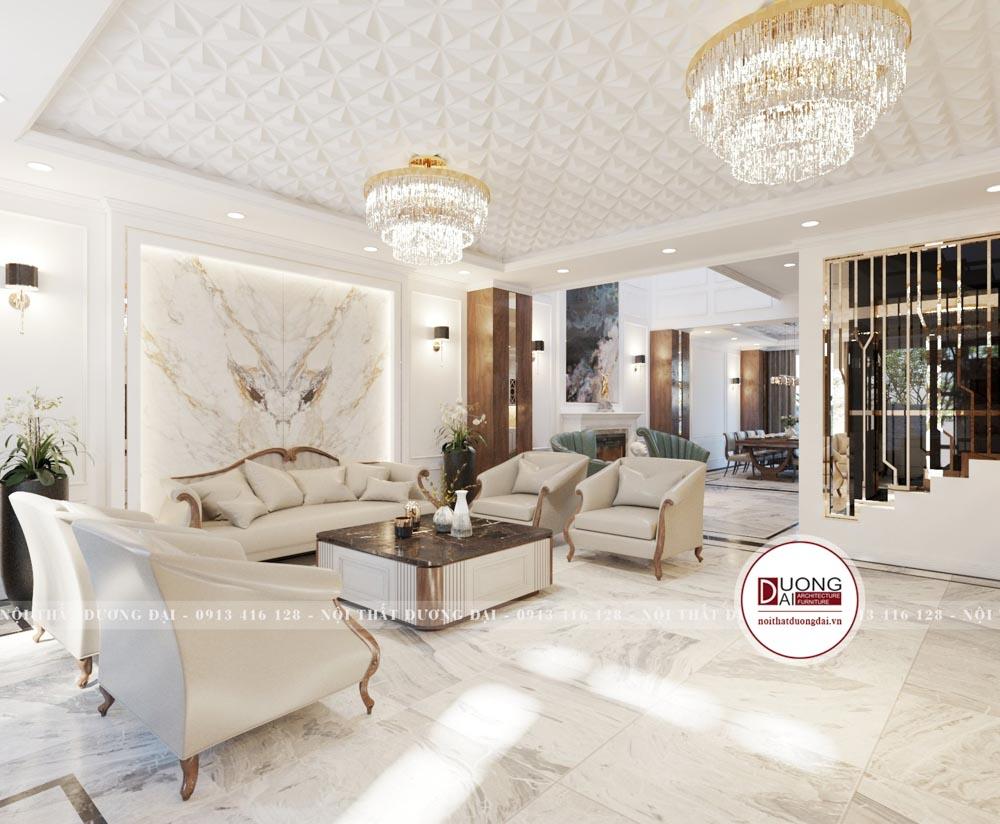 Thiết kế phòng khách tân cổ điển siêu xa hoa với màu trắng và be sáng