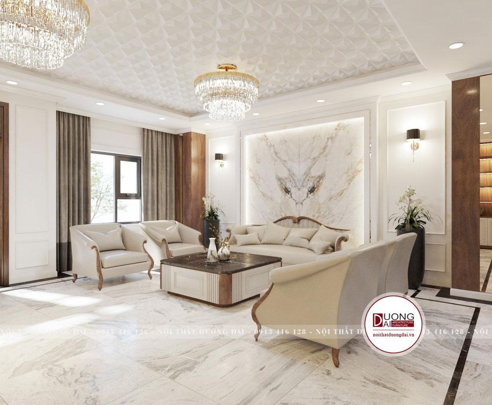 Bộ sofa da cao cấp với đá nhân tạo đối xứng đầy tính nghệ thuật