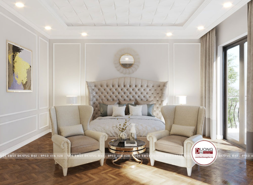 Phòng ngủ Master uy nghi và lộng lẫy với chất liệu nỉ cao cấp