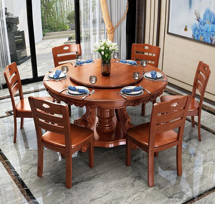 Thiết kế bàn ăn 6 ghế nhỏ gọn cho phòng khách