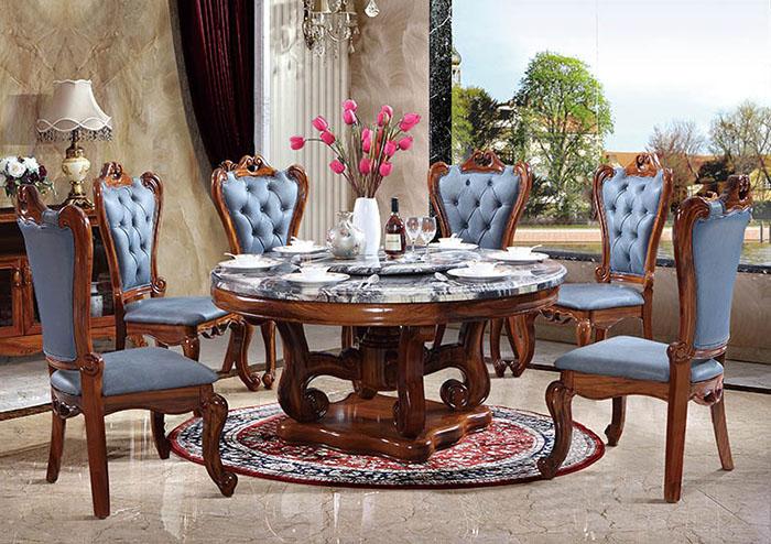 Mẫu bàn mặt đá xa hoa cùng ghế bọc da màu xanh dương