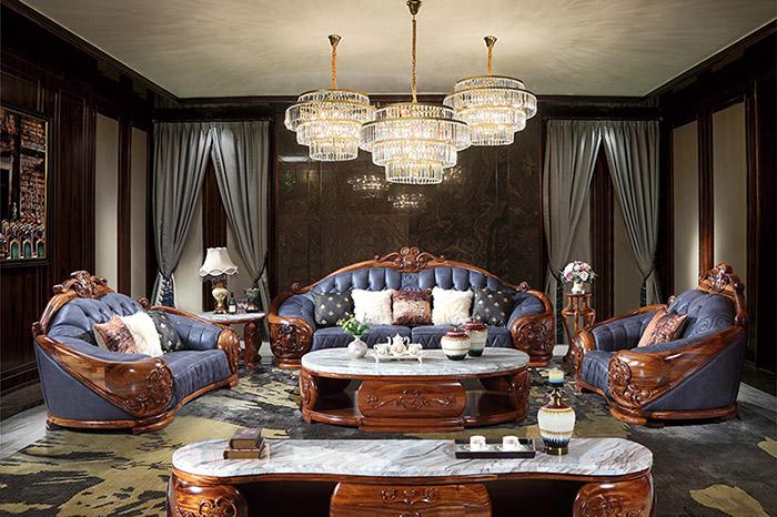 Sofa và bàn trà có kiểu dáng bắt mắt và những đường vân siêu cuốn hút