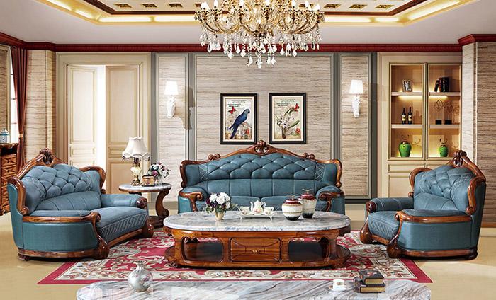 Mẫu sofa khung gỗ gõ đỏ bọc da màu xanh dương đầy nguy nga