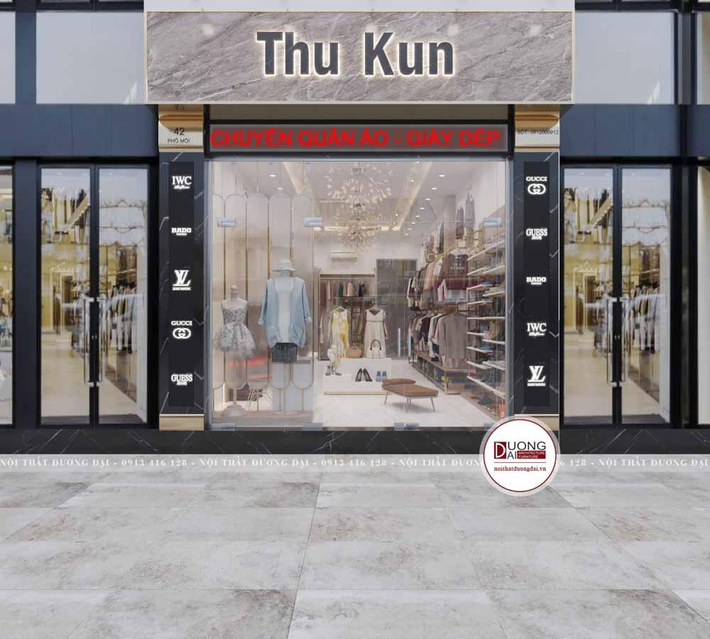 Mặt tiền shop kinh doanh quần áo với mặt kính hiện đại