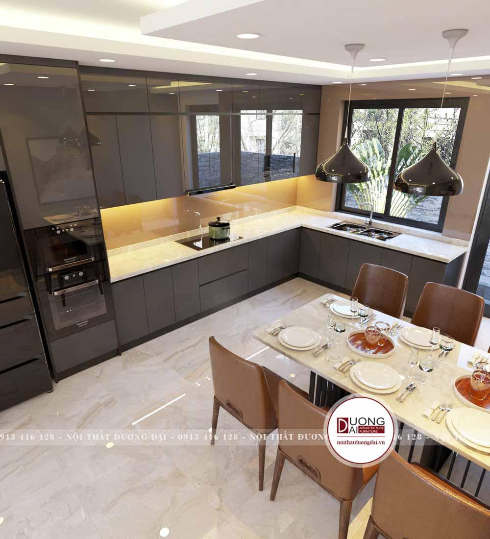 Cánh tủ bếp trên được phủ Acrylic bóng sáng màu xám