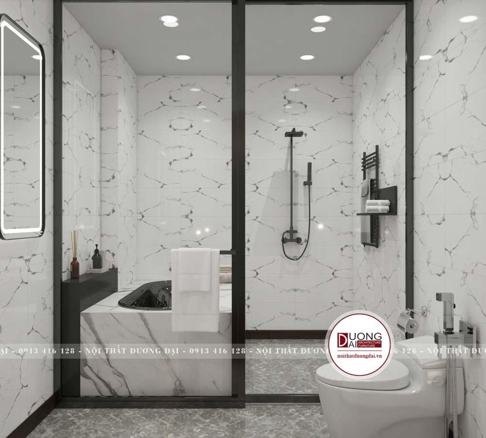 Phòng tắm kính xa hoa với gạch lát độc đáo