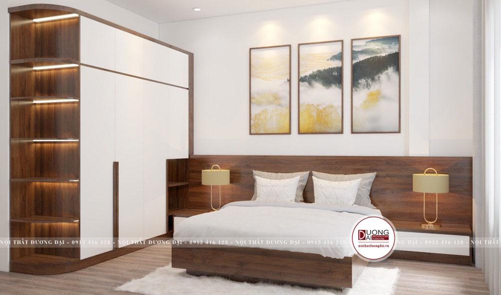 Phòng ngủ đơn giản và đầy trang nhã với nội thất gỗ Melamine màu trắng - nâu