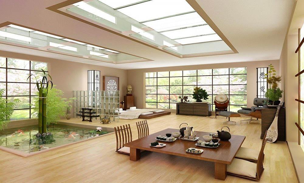 Thiết kế phòng khách gần gũi với thiên nhiên chuẩn phong cách Nhật